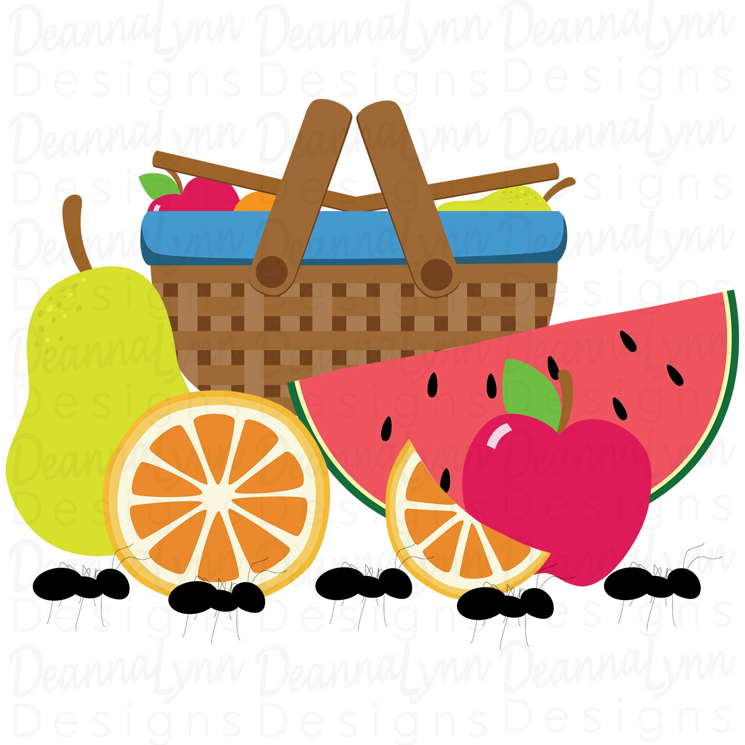 fruit picnic apple orange pear watermelon ants svg png pdf jpg rh etsystudio com